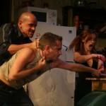 Kenneth Wayne Bradley, Joey Hood and Katie DeBuys in Killer Joe by Tracy Letts