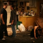 Joe Reynolds, Joey Hood, and Melissa Recalde in Killer Joe by Tracy Letts